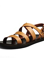 Men's Sandals Gladiator Real Leather Cowhide Summer Casual Outdoor Office & Career Flat Heel Light Brown Black White Flat