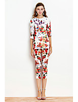 By Megyn Women's Casual/Daily Sophisticated Spring T-shirt Pant SuitsPrint U Neck  Length Sleeve