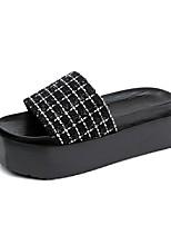 Для женщин Тапочки и Шлепанцы Удобная обувь Ткань Лето Повседневные Для прогулок Микропоры Белый Черный 4,5 - 7 см