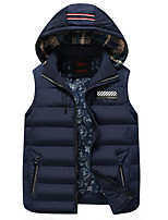 Men's Regular Padded Coat,Active Casual/Daily Striped-Cotton Polyester Sleeveless