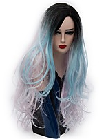Women Synthetic Wig Capless Long Natural Wave Light Blue Ombre Hair Natural Wig Party Wig Halloween Wig Carnival Wig Costume Wigs
