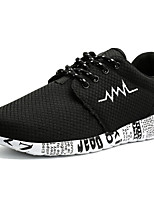 Men's Athletic Shoes Comfort Spring Fall Tulle Running Shoes Casual Outdoor Lace-up Flat Heel Black Gray Black/White 3in-3 3/4in