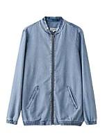 Feminino Jaqueta jeans Para Noite Casual Simples Moda de Rua Primavera Outono,Sólido Estampado Padrão Outros Colarinho Chinês Manga Longa