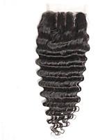 4x4inch pelo profundo del remiendo del cordón del pelo del pelo de la onda remy humano del pelo del cierre del pelo 8-20inch 3 manera de