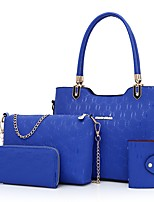 Women Bags All Seasons PU Bag Set with Zipper for Event/Party Casual Outdoor Blue Gold White Black Red