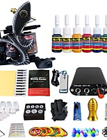 Professional Complete Tattoo Kit 1 Top Machine 7 Color Ink Needles Grip Power Supply