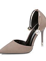 Для женщин Сандалии Оригинальная обувь Ткань Лето Свадьба Для вечеринки / ужина Для праздника Жемчуг На шпильке Черный Серый Розовый Хаки