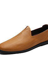 Men's Loafers & Slip-Ons Comfort Spring Fall Cowhide Casual Office & Career Party & Evening Flat Heel Dark Brown Yellow Black Flat