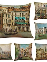 Set of 6 Retro ancient city of Venice  Linen Cushion Cover Home Office Sofa Square Pillow Case Decorative Cushion Covers Pillowcases (18*18Inch)