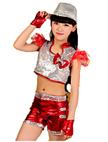 Jazz Outfits Kid's Performance Polyester Paillettes 2 Pieces Sleeveless High Tops Shorts