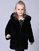Girls' Solid Jacket & Coat,Faux Fur Special Fur Types Winter Long Sleeve