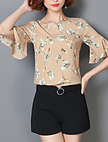Women's Going out Casual/Daily Simple Summer Fall Blouse,Floral Print Round Neck Half Sleeves Polyester Medium