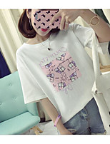 Women's Casual/Daily Cute Summer T-shirt,Geometric Round Neck Short Sleeve Cotton