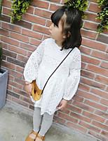 Robe Fille de Couleur Pleine Coton Polyester Eté Manches longues