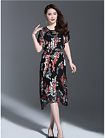 1898 Women's Going out Cute Sheath DressPrint Round Neck Midi Short Sleeve Polyester Summer Mid Rise Micro-elastic Medium