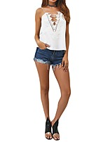 Women's Going out Simple T-shirt,Solid Off Shoulder Sleeveless Polyester