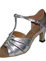 Women's Latin Faux Leather Sandals Performance Buckle Cuban Heel Silver Gold 2