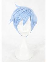 Pelucas sintéticas Sin Tapa Corto Liso Azul Faux Locs Peluca Peluca de cosplay Las pelucas del traje