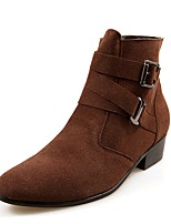 Men's Boots Fashion Boots Bootie Nubuck leather Winter Casual Outdoor Office & Career Party & Evening Low Heel Brown Black Flat