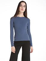 Для женщин На каждый день Простое Обычный Пуловер Однотонный,Круглый вырез Длинный рукав Шерсть Акрил Полиэстер Осень Зима Толстая