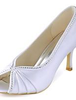Femme Chaussures de mariage Escarpin Basique Satin Elastique Printemps Eté Mariage Soirée & Evénement Cristal Talon Aiguille Blanc7,5 à