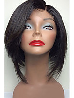 Short Length Bob Wigs Silk Straight Indian Human Hair Glueless Lace Front Wigs Cheap On Sale