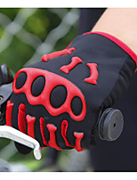 Men's Cotton Wrist Length Fingertips Windproof Keep Warm Skull High Quality Fashion Outdoor Sports Patchwork Autumn/Fall Winter White/Green/Red