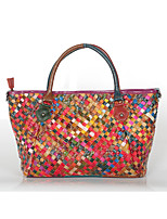 Women Bags All Seasons Cowhide Tote with Braided Strap Split Joint for Event/Party Casual Rainbow