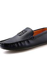 Men's Loafers & Slip-Ons Driving Shoes Comfort PU Spring Fall Casual Office & Career Flat Heel Blue Brown Black Flat