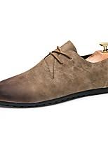 Men's Oxfords Moccasin Rubber Spring Fall Outdoor Walking Flat Heel Brown Gray Black Under 1in