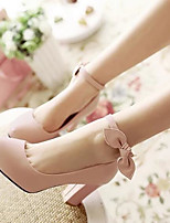 Women's Shoes PU Spring Comfort Heels Chunky Heel For Casual Beige Yellow Blushing Pink