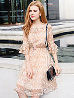 YHSPWomen's Going out Casual/Daily Simple Cute Sophisticated A Line Sheath Chiffon DressFloral Round Neck Midi 3/4 Length Sleeve Polyester