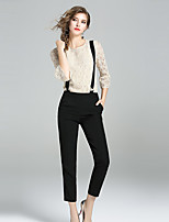 YIYEXINXIANGWomen's Going out Casual/Daily Simple Summer Blouse Pant SuitsPrinting Round Neck  Sleeve Inelastic