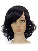 Women Black Medium Length Shag Curly Synthetic Natrural Hair Wig High Temperature Fiber