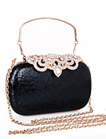 Women Evening Bag leatherette All Seasons Wedding Event/Party Formal Minaudiere Rhinestone MiniSpot Snap Silver Black Gold