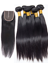 7 Pieces/Lot Straight Hair Human Hair Weaves With Closure Color 1b Natural Black (6pcs 16inch With 1pcs 12inch Closure)