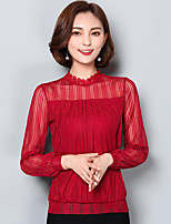 Women's Casual/Daily Street chic Summer Fall T-shirt,Embroidery Boat Neck Long Sleeve Cotton Medium