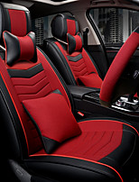The New Leather Linen Car Seat Cushion Seat Cover Seat Four Seasons General Surrounded By A Five Seat Headrest Backrest To Send 2 Wheel Sets Red