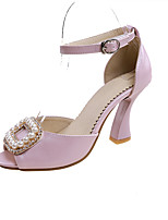 Women's Heels Basic Pump Spring Summer Synthetic Microfiber PU PU Wedding Party & Evening Office & Career Dress Imitation Pearl Buckle