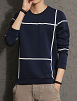 Men's Plus Size Fashion Round Neck Big Plaid Sweatshirt  Cotton Spandex L