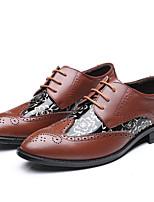 Для мужчин обувь Кожа Весна Лето Осень Зима Формальная обувь Туфли на шнуровке Комбинация материалов Назначение Повседневные Черный