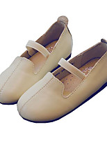 Girls' Flats Comfort Spring Fall Cowhide Casual Beige Black Flat