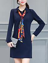 Для женщин На выход На каждый день Большие размеры Простое Уличный стиль Прямое Платье Однотонный,Рубашечный воротник Мини Длинный рукав