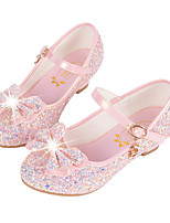 Girls' Flats Comfort Novelty Flower Girl Shoes Fall Winter Synthetic Microfiber PU Casual Dress Sequin Buckle Flat Heel Blushing Pink