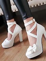Damen Schuhe PU Frühling Komfort High Heels Blockabsatz Für Normal Weiß Beige Purpur Rosa