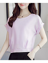 Women's Casual/Daily Simple Summer Blouse,Solid Round Neck Short Sleeve Others