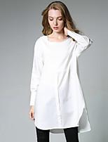 Damen Solide Einfach Sport Lässig/Alltäglich T-shirt,Rundhalsausschnitt Herbst Langarm Baumwolle Polyester Dünn