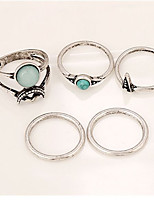 Men's Women's Midi Rings Band Rings Turquoise Geometric Vintage Punk Classic Alloy Geometric Irregular Jewelry ForParty Casual Stage