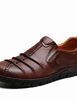 Men's Oxfords Comfort Cowhide Spring Fall Casual Office & Career Flat Heel Light Brown Dark Brown Flat