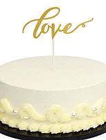 Golden Love Wedding Cake Topper Decorations Sparkle Glitter Engagement Party Anniversary Favors Event Supplies